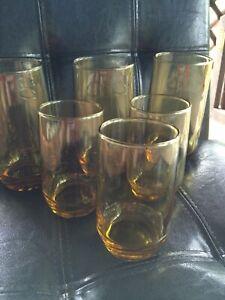 Vintage-Amber-Drinking-glasses-Tumblers-and-Juice-set-of-6-Deep-Amber-Honey-MCM