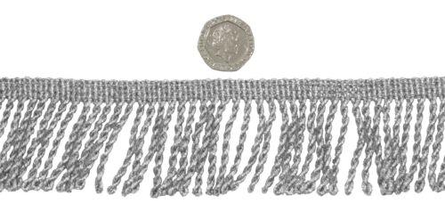Silver twisted 50mm metallic bullion frange parage vendu au mètre