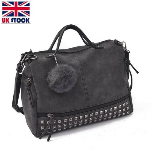 Women Large Rivet Leather Handbag Satchel Shoulder Bag Messenger Crossbody