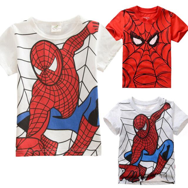 Boy Kid Short Sleeve T-shirt Cartoon Spiderman Cotton Children Summer Casual Top