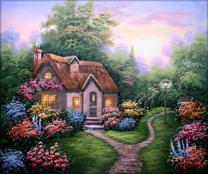 Quality-Hand-Painted-Oil-Painting-Sweet-Cottage-20x24in