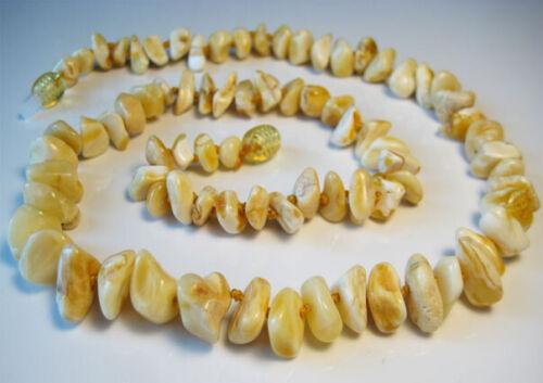 !!! Elegante Weiß Gelb Natürlich Baltischer Bernsteinkette 19 g