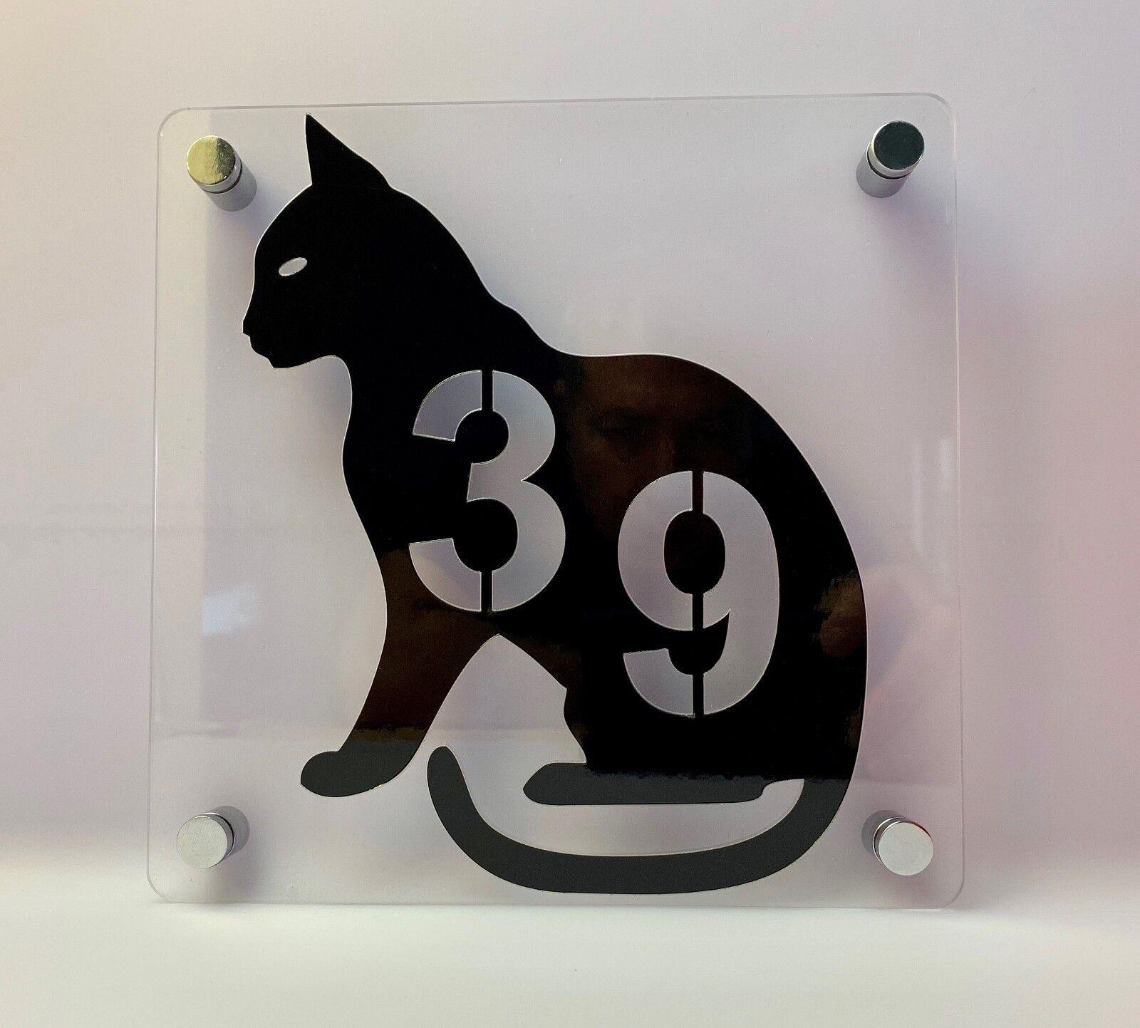 Tierfreunde Hausnummer Katze - Türnummer - Nummer - Plexiglas