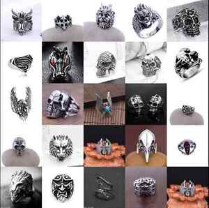 Fashion-Men-039-s-Stainless-Steel-Silver-Gothic-Punk-Charm-Biker-Finger-Ring-Jewelry