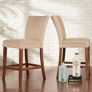 Image Is Loading 2 Piece Parsons Style Upholstered Counter Height Stool