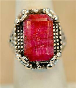 Victorian design Natural RUBY 925 Sterling Silver Ring #M6