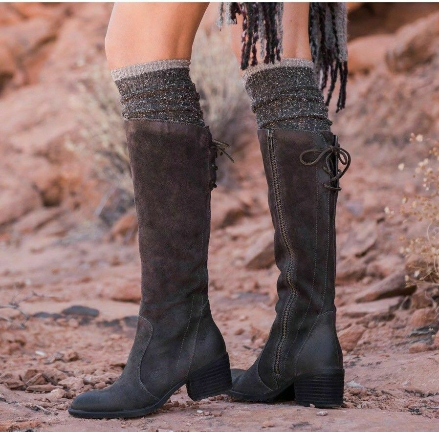 Born Felicia Riding Tall Boots Grey Grey Grey Suede Lace Up Size 7 New in Box  239 fafba7