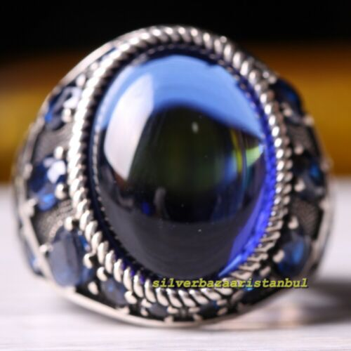 Details about  /Multi Blue Sapphire Stones Handmade 925 Sterling Silver Mens Ring All Sizes