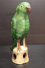 """Vintage Green Folk Art Ceramic Parrot ~ 9 1/2"""" tall"""