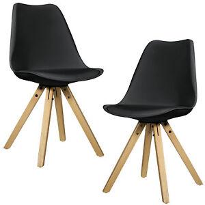 en.casa] Set 2 sillas de comedor diseño negras madera plástico piel ...
