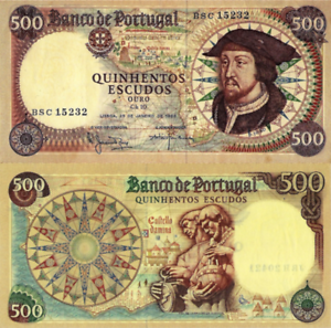 PORTUGAL 500 Escudos from1966, Ch.10, PTE, P170a(5) UNC