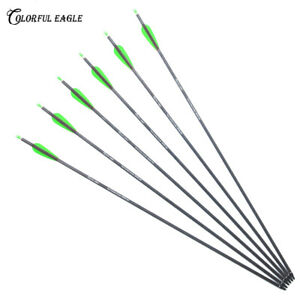 "Archery 28/""30/""31/"" Pure Carbon Arrows Spine300 400 for Bow Arrow Shooting Hunting"