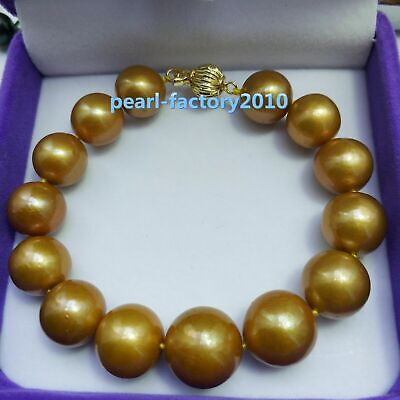 """HUGE AAA 10-11mm Round south sea black pearl bracelet 7.5-8/"""" 14k Gold clasp"""