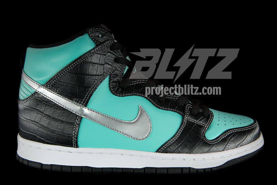 Nike Dunk High Premium SB DIAMOND SUPPLY CO Size 8 AQUA CHROME BLACK 653599-400