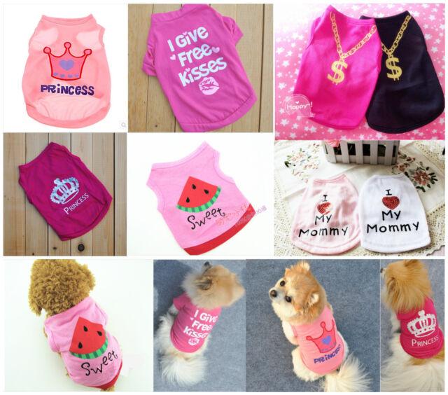 Dog T Shirt Pet Clothes Apparel Vest Costumes Summer Puppy Printed Coat Cat #A