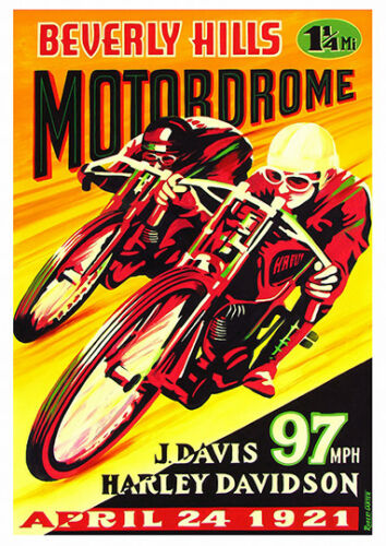 Wall art. Vintage Motorcycle Reproduction poster Beverley Hills Motordrome