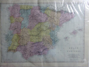 Antique-SPAIN-amp-PORTUGAL-PRINTED-MAP-Bacon-039-s-Geographical-Establishment-c1890