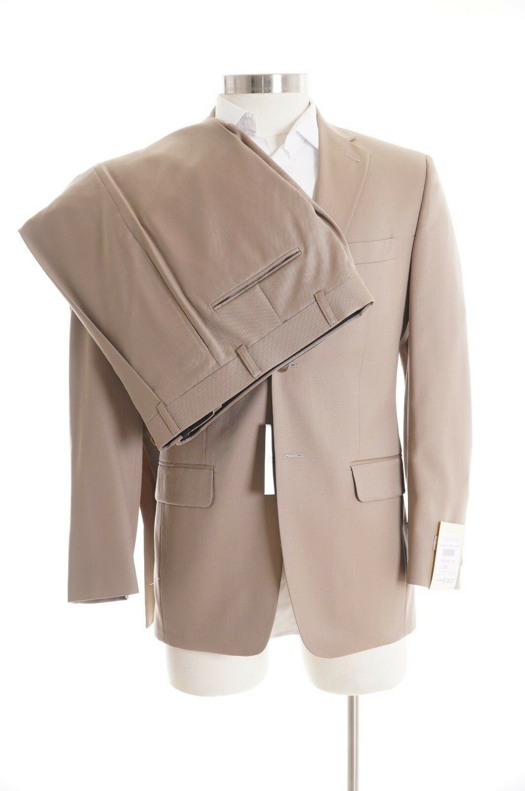 Jones New York Classic Fit Solid Tan 100% Wool Two Button Suit 36S 29.5W