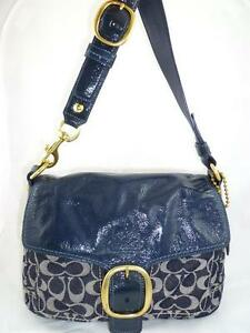 Image Is Loading Coach 12572 Bleecker Used Signature Denim Patent Flap