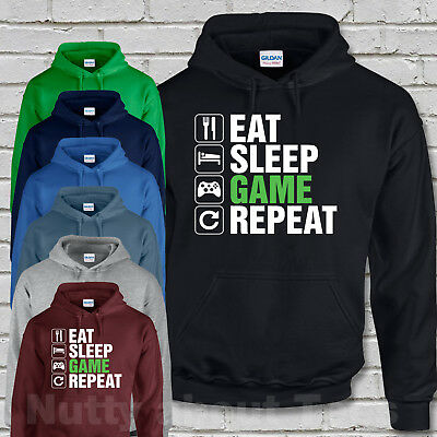 Eat Sleep Game Repeat Kids Hoodie Hooded Sweatshirt Gaming Gamer Ages 3-13