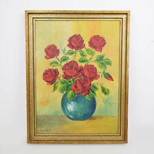Buschmann 1948 Öl-Gemälde / Rote Rosen / Blumen-Srauß / 42x54,5cm / altes Bild