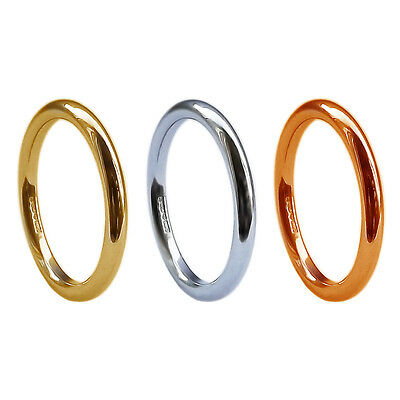 Nett 2mm 9ct Yellow White Rose Solid Gold Round Halo Wedding Rings Uk Hm Heavy Bands üPpiges Design