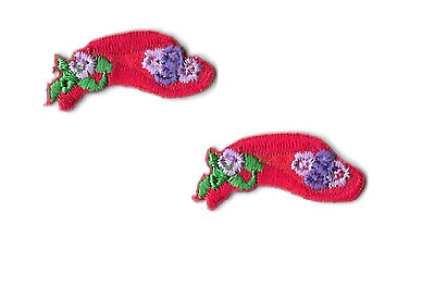 2 SMALL Red Hats W//Flowers Embroidered Iron On Applique Patch Red Hat