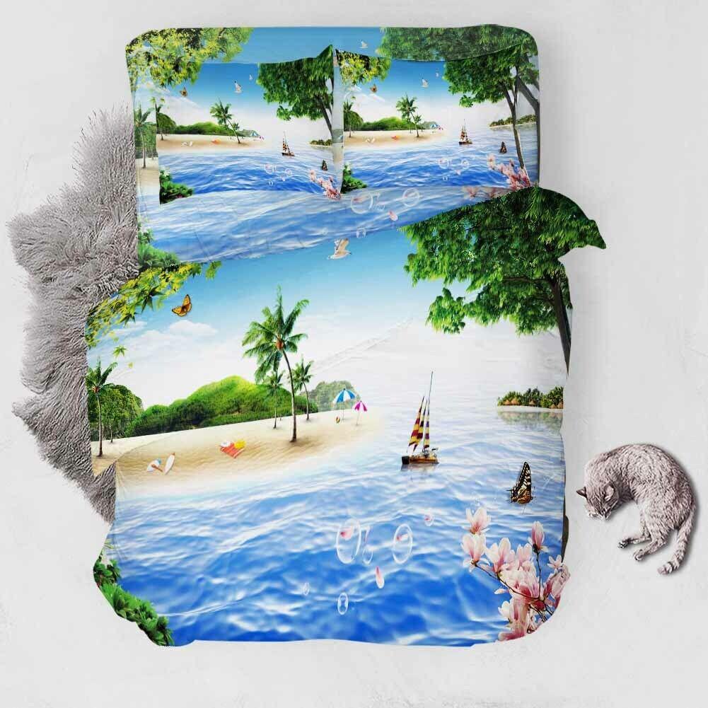 Wave Sailing Boat 3D Printing Duvet Quilt Doona Covers Pillow Case Bedding Sets