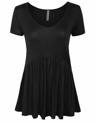 Women's Short Sleeve Scoop Neck Baby Doll Tunic Top Made in USA S,M,L