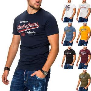 Jack-amp-Jones-T-Shirt-Hommes-Manches-Courtes-Shirt-Print-Shirt-Casual-Streetwear-Jersey