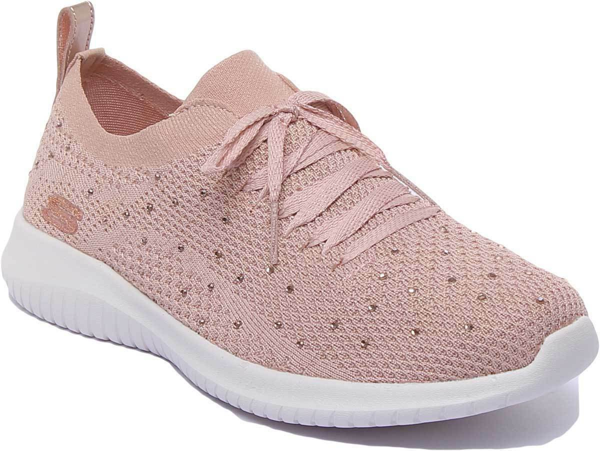 Skechers Flex Strolling Womens Mesh Casual Lace up Trainer In pink UK Size 3 - 8