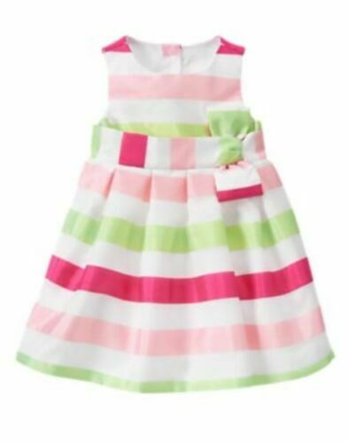 Gymboree Egg Hunt 4T 5T Striped Organza Dress Bow NWT Easter Dressy Wedding