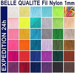 Lot 6,8,10,27 mètres FIL tressé Nylon 1mm pour BRACELET Bijoux perle