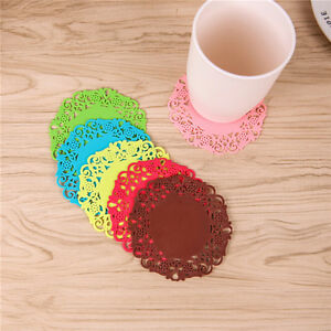 Bar Coasters UK_ LC_ 6 Pcs Lace Flower Doilies Silicone Coaster Tea Cup Pad Insulation Placem Home Cookware, Dining & Bar Supplies