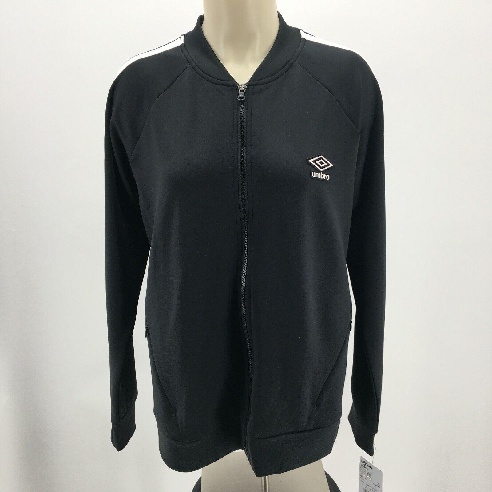 NWT Umbro Full Zip Athletic Track Jacket Long Sleeves Activewear Black Womens XL