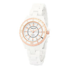 Alias Kim Gold Bezel White Ceramic Bracelet Band Women's Lady Quartz Wrist Watch