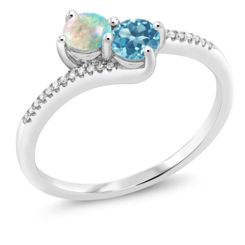 0.75 Ct Round Cabochon White Simulated Opal Swiss Blue Topaz 10K White Gold Ring