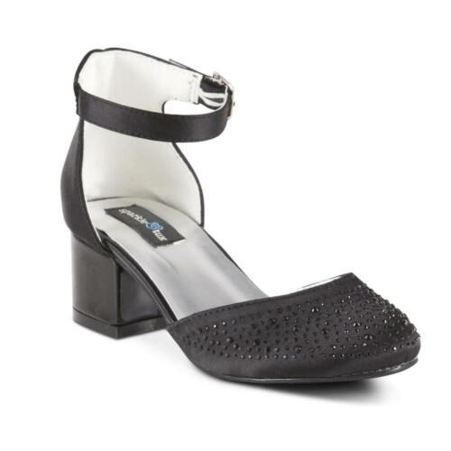 Shimmery Black Ankle Strap New Dress Sandals Sparkle /& Tux Girls/' White Cheri