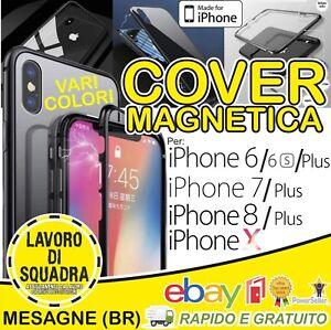 COVER CUSTODIA MAGNETICA ALLUMINIO VETRO TEMPERATO APPLE IPHONE 6 6S 7 8 X XS