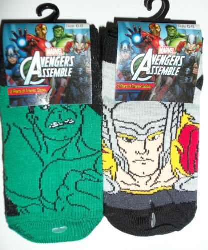 Hulk Capitan America Taglia 12-2 Ragazzo 2 PACK Marvel Comics Scarpe da ginnastica Calze