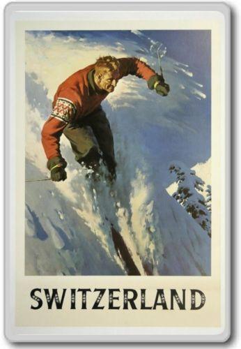 Europe Ski In Switzerland Vintage Travel Fridge Magnet