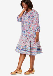 Details about Woman Within Women\'s Plus Size Tie Neck Mixed Print Tiered  Dress