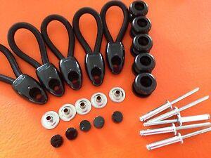 BUNJI BUTTONS + SHOCKCORD LOOPS 80 mm TONNEAU repair KIT x 5 BLACK INC POSTAGE