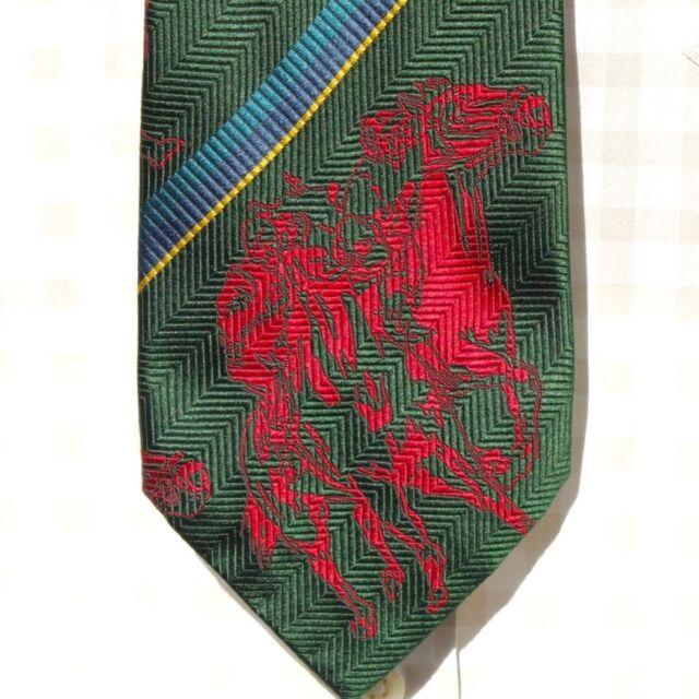 Polo by Ralph Lauren Gent's Green & Red Stripe Equestrian All Silk Tie - $125.00