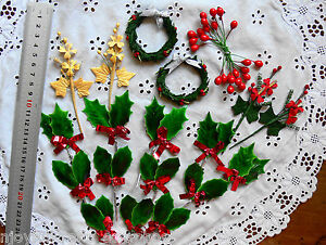 CHRISTMAS-HOLLY-BERRIES-amp-SPRAY-Mix-GREEN-RED-GOLD-amp-SILVER