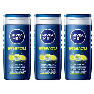 (13,29€/L)3x 250ml Nivea Men Energy Pflegedusche Körper Gesicht Haar Minzextrakt
