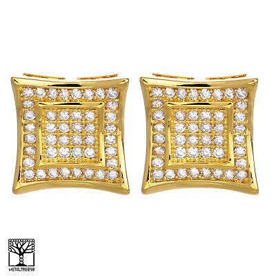 Men/'s 14K Gold Plated Double Square Kite Screw Back Stud Earrings BE 002 G