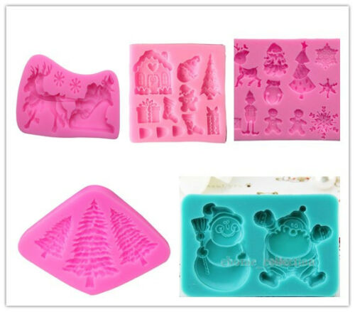 Silicone Christmas Fondant Cake Sugarcraft Mould Chocolate Candy Baking Mold DIY