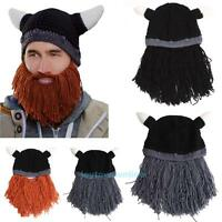 Men Funny Beard Mustache Hat Barbarian Looter Knit Crochet Beanie Cap Winter Hot