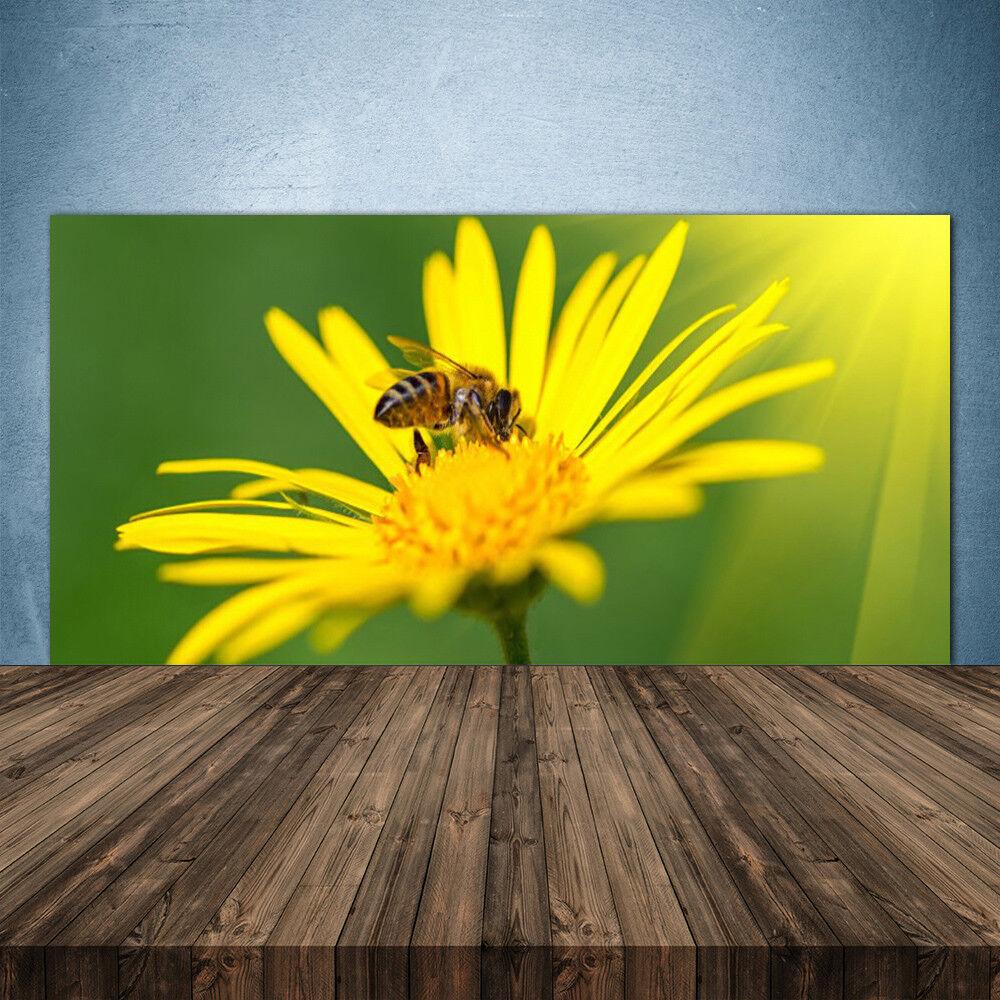 Crédence de cuisine en verre Panneau 140x70 Floral Fleur Guêpe